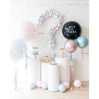 Фотозона из больших шаров на гендерную вечеринку с большим знаком вопроса из шаров