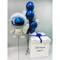 """Коробка с шарами на день рождения """"Космонавт"""""""