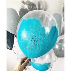 Прозрачные шары с голубой краской