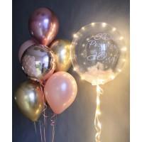 Набор из баблс с перьями на светодиодной ленте и фонтан из розово-золотых шаров