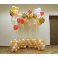 Фонтаны из шаров белого, золотого, малинового и персикового цветов на основаниях
