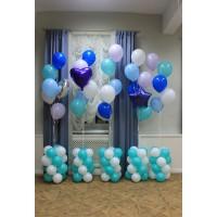 Фонтаны из шаров белого, голубого, мятного, синего и сиреневого цветов на основаниях