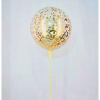 Большой шар с золотыми конфетти-звёздочками