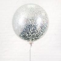 Большой шар с мелким серебряным конфетти