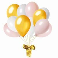 Облако из шаров нежно-розового, золотого и белого цветов