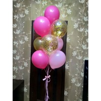 Розово-золотой фонтан с шарами с конфетти