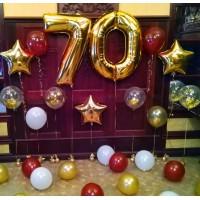 Фотозона из гелиевых шаров с фольгированными золотыми цифрами