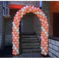 Арка из шаров перламутровый айвори+персиковый+нежно-розовый