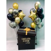 Коробка с чёрно-золотыми шарами хром