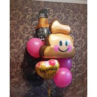 """Композиция из шаров чёрный+фуксия с фигурками в виде бутылки , смайликом-какашкой и сердечком """"Лучшей подруге"""""""