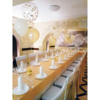 Бело-золотые настольные композиции из шаров