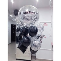Чёрно-серебряный фонтан с большим шаром конфетти с надписью