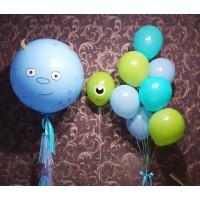 Набор голубых и салатовых шаров в стиле Монстров