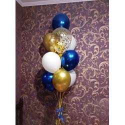 Фонтан из шаров синий+белый+золотой