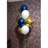 Фонтан из белых, синих и золотых шаров хром с золотой звездой