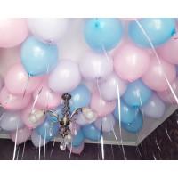 Нежные голубые, розовые и сиреневые шарики под потолок