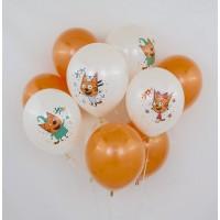 """Бело-оранжевое облако из шаров """"Три кота"""""""