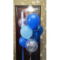 Сине-голубой фонтан со звездой из шаров
