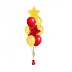 Гелиевый фонтан из 10 шаров с 2-мя звездами