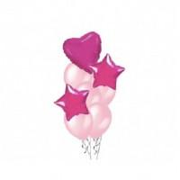 Фонтан из 8 шаров со звездами и сердцем