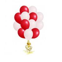 Облако шаров белый и красный