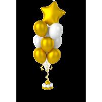 Фонтан из 10 шаров с фольгированной звездой