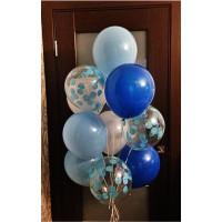 Фонтан из 10 шаров в сине-голубых тонах