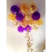 Гелиевая связка шаров фиолетовый+золотой