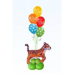 Фонтан из 5 шаров с тигром