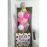 Коробка мальчик или девочка с малышкой и шарами
