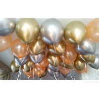 Гелиевые шары серебро, золото хром и персиковый перламутровый