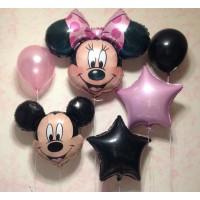 Сет шаров с Микки и Минни Маусом