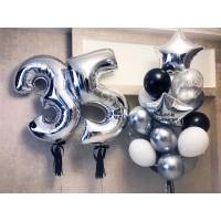 Цифры и связка шаров серебро хром+черный+белый