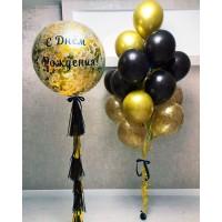 Большой шар с надписью и связка из 18 шаров