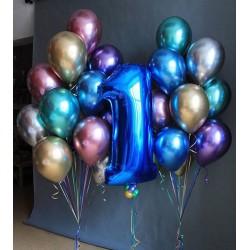 """Гелиевый набор """"Хромовые шары и синяя цифра"""""""