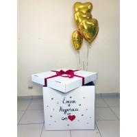 Коробка с золотыми сердцами