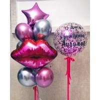 Баблс с конфетти и фонтан с губами