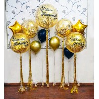 Большая золотая фотозона из больших шаров