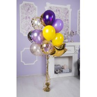 Желто-фиолетовый фонтан из шаров