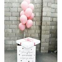 Большая коробка с розовыми шарами сестре