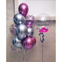 Набор с хромовыми шарами розовый+серебро