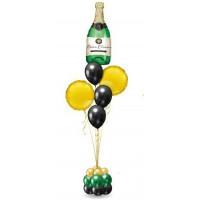 Фонтан из шаров с бутылкой шампанского