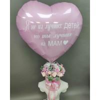 Букет в шляпной коробке с розовым сердцем