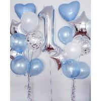 Серебряная цифра и 2 фонтана с шарами голубой металлик