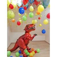 Ходячий динозавр и разноцветные шары
