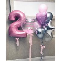 Набор с цифрой на День рождения в розовом цвете