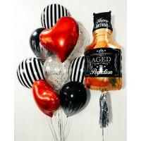 Гелиевая композиция с виски и полосатыми шарами