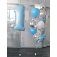 Голубая фольгированная единичка и фонтан из шаров