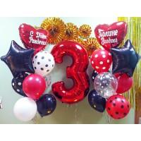Композиция из 2-х фонтанов и красной цифры с шарами в горох