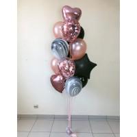 """Фонтан """"Розовое золото+черный"""" из 13 шаров"""